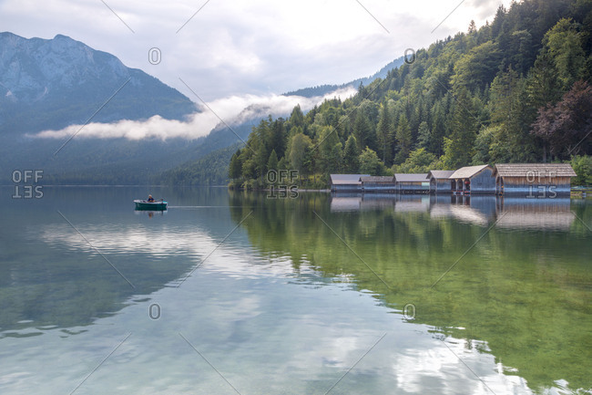 Fishing Huts and fisherman on the Lake Altaussee, Styria, Austria
