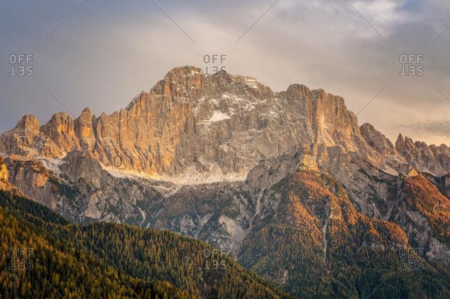 Monte Civetta, sunset light on the north west wall, Dolomites, Alleghe, Belluno, Veneto, Italy