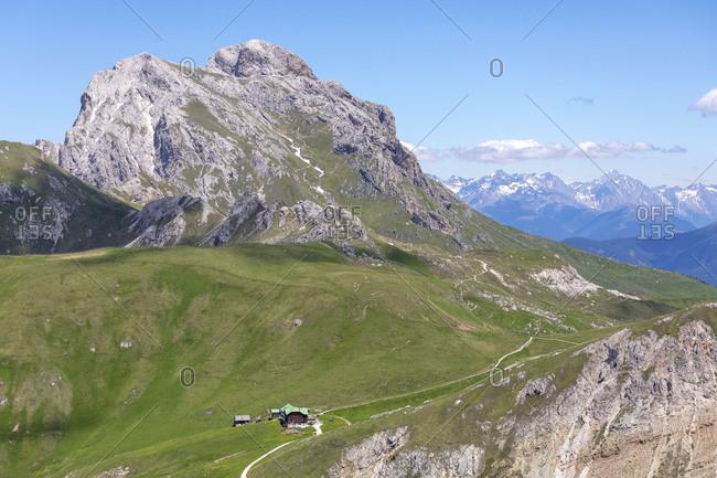 Genova mountain hut Schluterhutte and Sass de Putia, Puez-Geisler Nature Park, Dolomites, Bolzano, South Tyrol, Italy