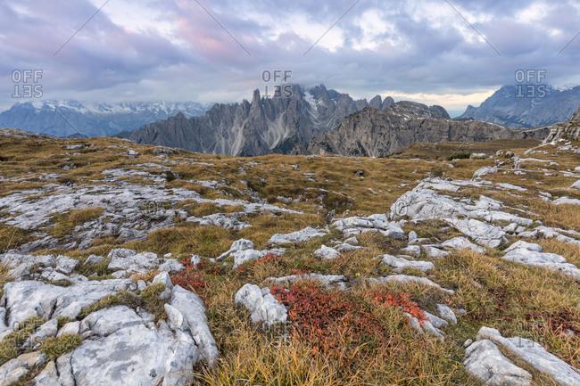 Cadini di Misurina as seen from Lavaredo plateau, Dolomites, Auronzo di Cadore, Belluno, Veneto, Italy