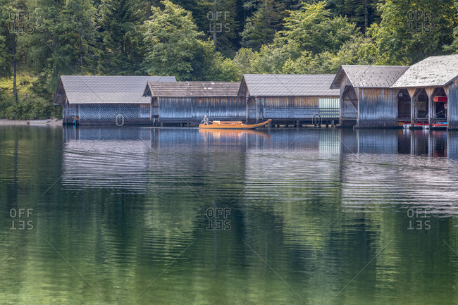 Fishing Huts and typical boats on the Lake Altaussee, Altaussee, Styria, Austria