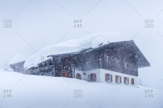 Austria, Montafon, St. Gallenkirch, snow-covered ski lodge.