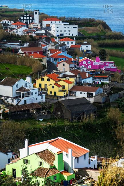 Colorful houses in Ajuda da Bretanha, Sao Miguel, Azores, Portugal