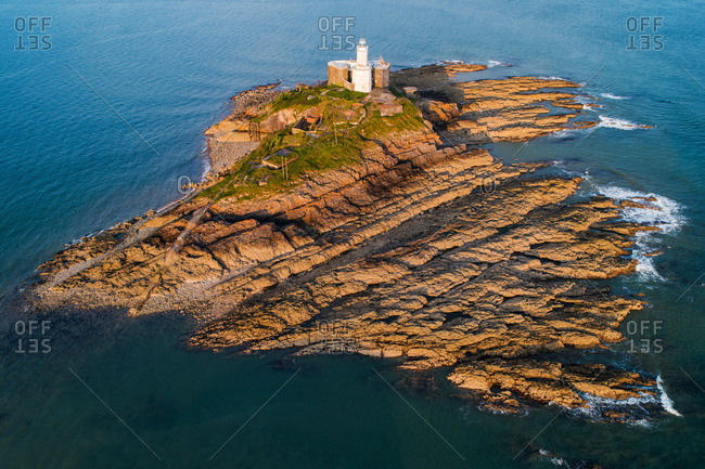 Wales - August 31, 2018: Mumbles Head Lighthouse