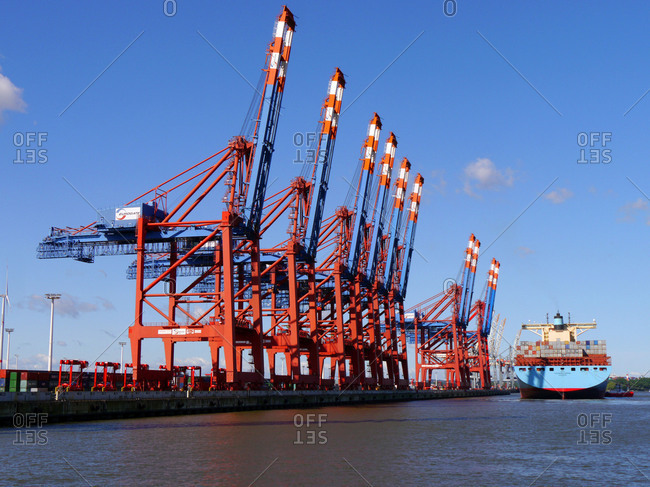 Germany - August 31, 2018: landing a container ship