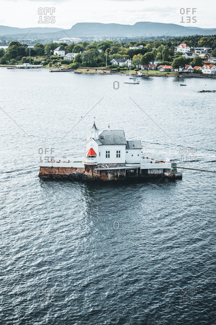 Norway, Oslo, Dyna Fyr restaurant (former lighthouse) situated in the Oslofjord