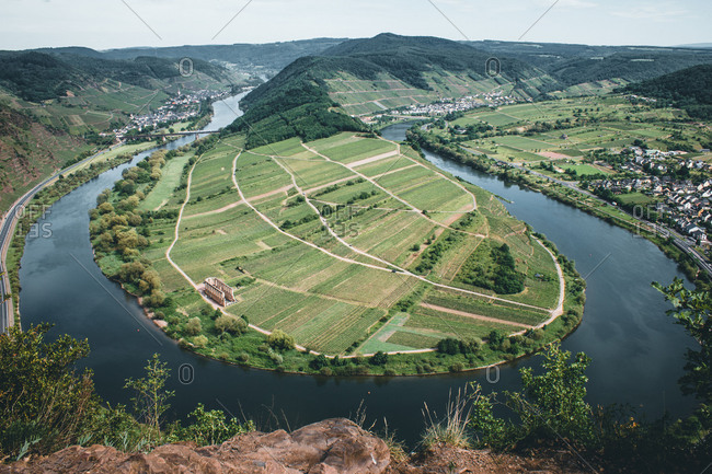 Germany - August 31, 2018: Germany, Rhineland-Palatinate, Moselle River, Moselle River bend, Bremm