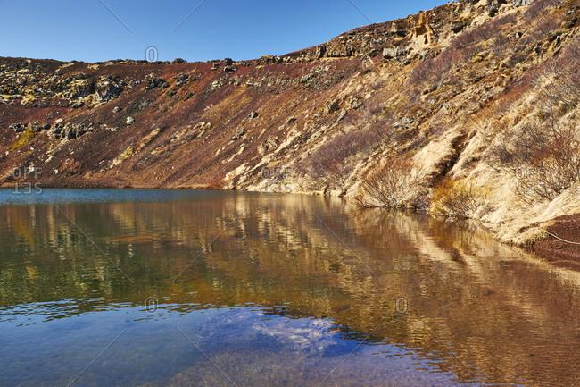 ,Iceland, Golden Circle, Thingvellir National Park, southwest, lake in Kerid Volcanic Crater