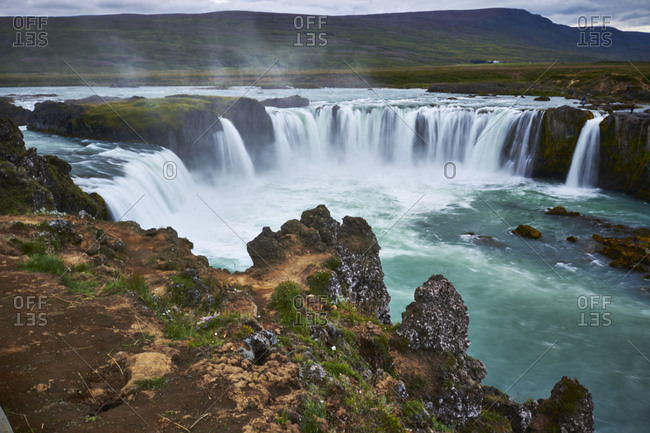 Iceland - August 27, 2018: Godafoss waterfall on the Skjalfandafljot