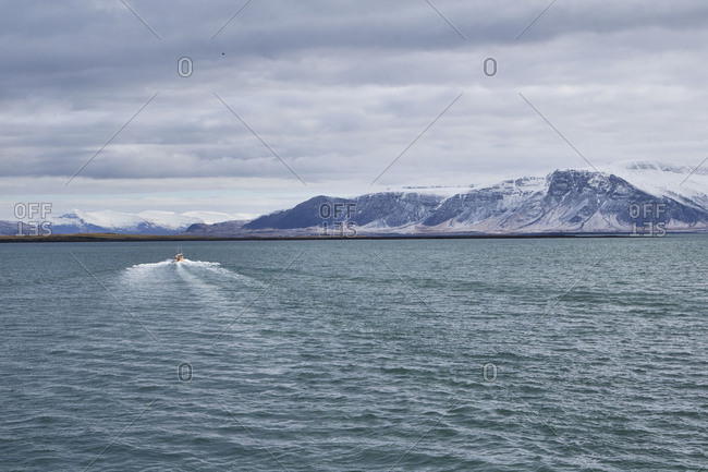 Iceland, Reykjavik Harbor, Boat tour, whale-watching, boat and mountains in the distance