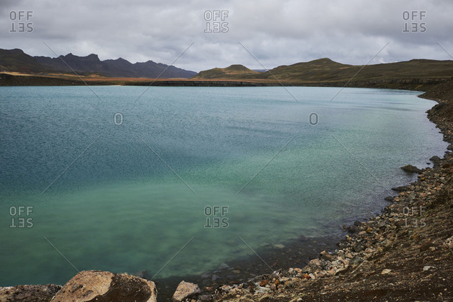 Iceland, lake in Krysuvik on the Reykjanes Peninsula