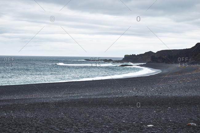 Iceland - August 31, 2018: West Iceland, peninsula snaefellsnes, Dritvik-Djupalonssandur, black beach