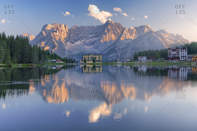 Misurina and the lake with Sorapis mountain on the background, Auronzo di Cadore, Belluno, Veneto, Italy