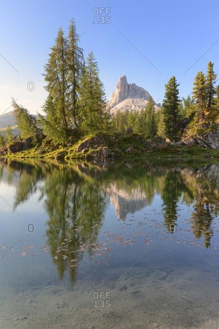 Sunrise at Lake Federa in summer time, on the background the Becco di Mezzodi, Dolomites, Cortina d'Ampezzo, Belluno, Veneto, Italy