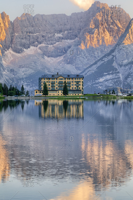 Italy - August 31, 2018: Misurina and the lake with Sorapis mountain on the background, Auronzo di Cadore, Belluno, Veneto, Italy