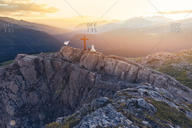 The Cristo Pensante (Thinking Christ) on the summit of mount Castellazzo near Rolle pass, Trentino, Italy
