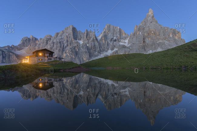 Northern italy, Trentino, natural park paneveggio pale di san martino, alpine hut, lake, reflection, cimon de la pala