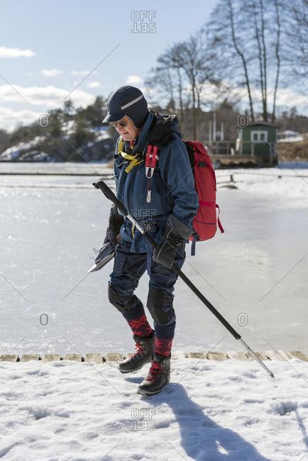 Senior man long-distance ice-skating