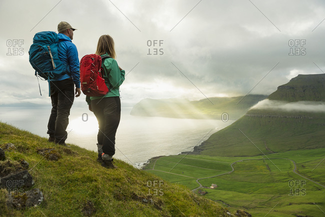 Hikers at coast