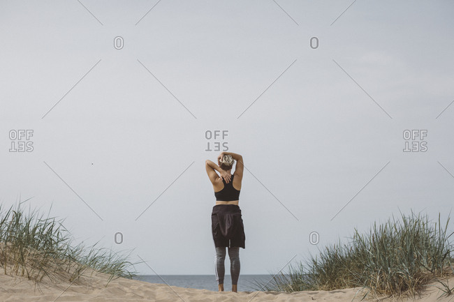 Woman standing on beach