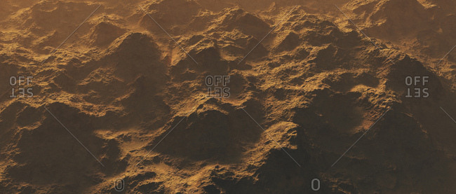 Aerial view of a desolate mountain range