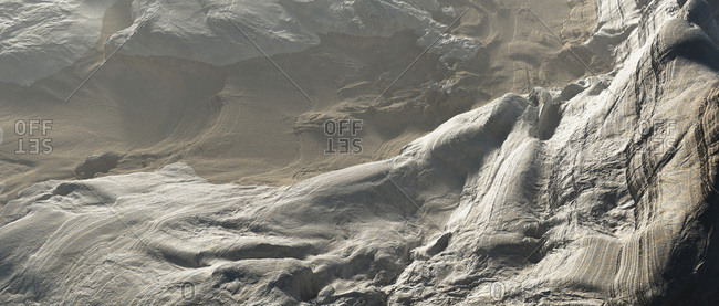 Aerial view of geological formations on mountainside