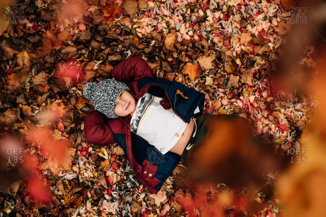 Portrait shot from overhead of little boy laying in red, orange and yellow pile of leaves, smiling at camera