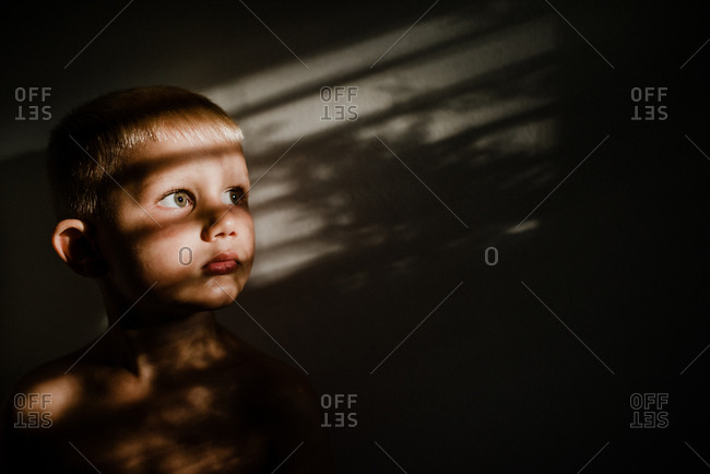 Portrait of a little boy in dappled light, looking out window, his green eyes the focus of the shot