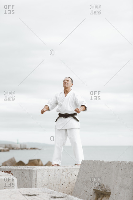 Karate fighters practicing martial arts in the sea