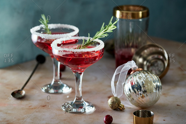 Festive cranberry martini cocktails