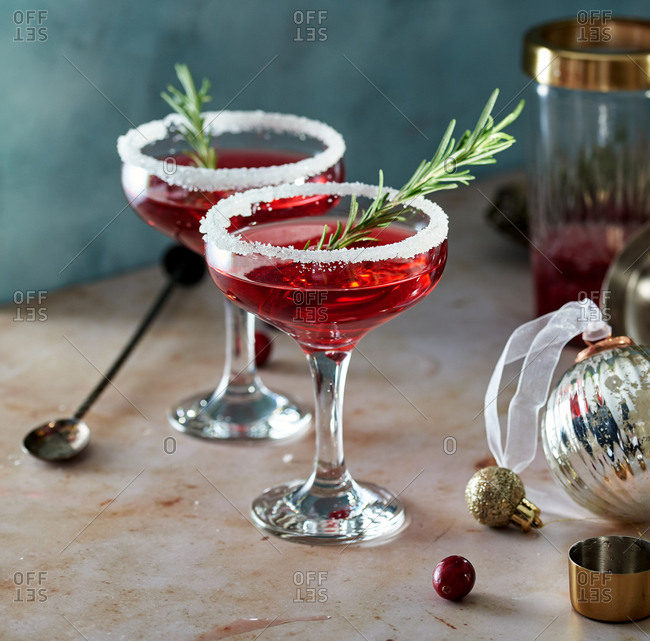Cranberry martini cocktails in a festive setting