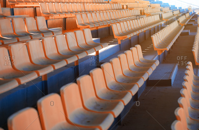 Empty seats in outdoors stadium