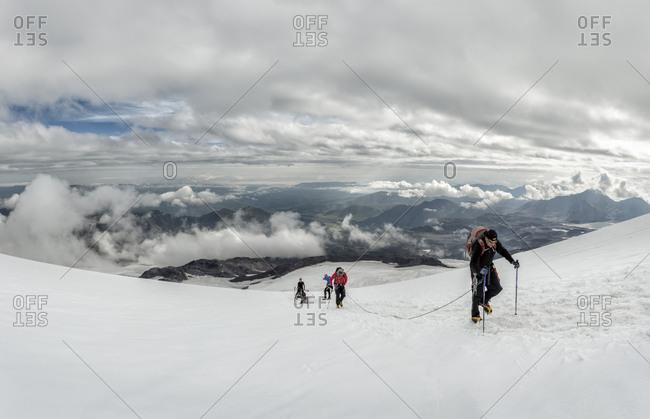 Russia- Upper Baksan Valley- Caucasus- Mountaineers ascending Mount Elbrus