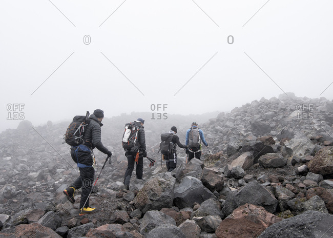Russia- Upper Baksan Valley- Caucasus- Mountaineers setting off at North camp