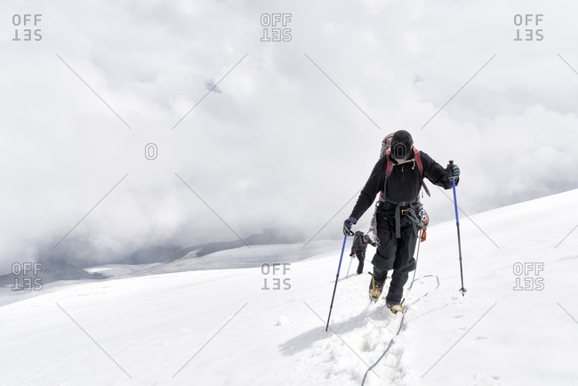 Russia- Upper Baksan Valley- Caucasus- Mountaineers ascending Mount Elbrus