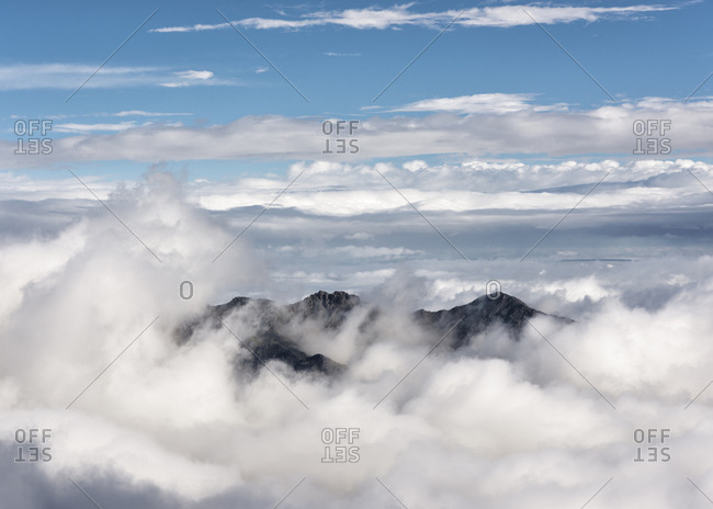 Russia- Upper Baksan Valley- Caucasus- Mountain Peak in the clouds