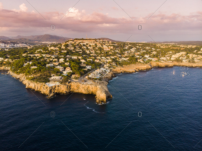 Spain- Mallorca- Region Calvia- Aerial view of Isla Malgrats and Santa Ponca at dusk