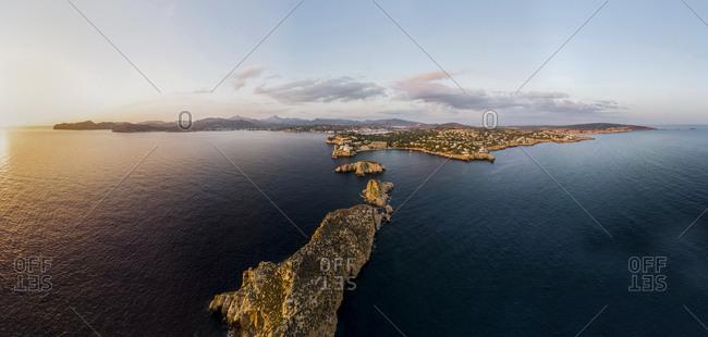 Spain- Mallorca- Region Calvia- Aerial view of Isla Malgrats and Santa Ponca at dusk