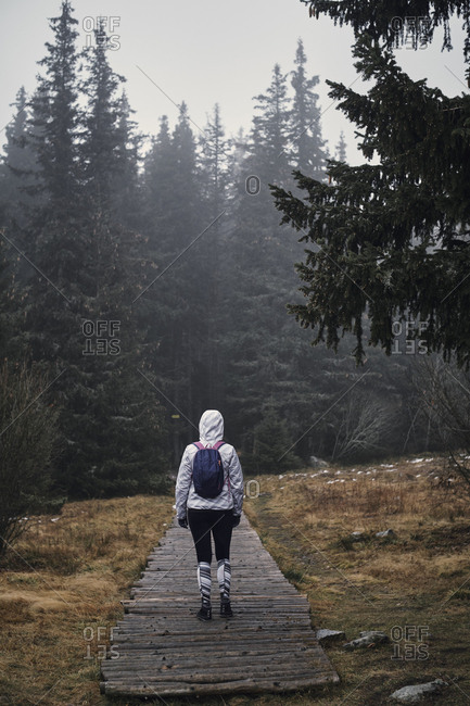 Bulgaria- Young yoman walking through the forest- rainy weather