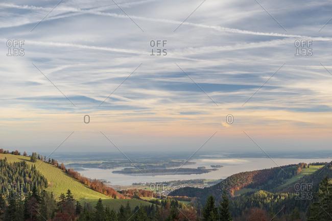 Germany- Upper Bavaria- Aschau- Chiemsee lake in autumn