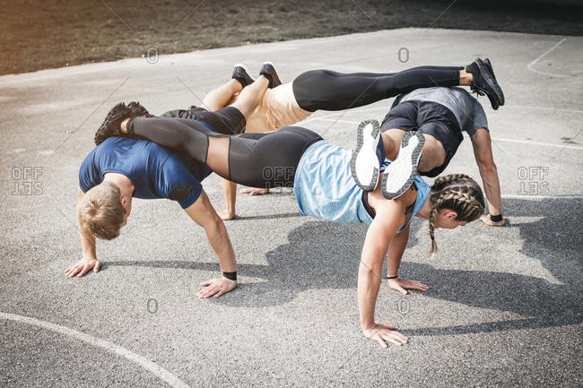 People during workout- pushups
