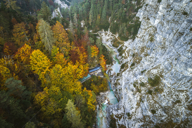 Austria- Lower Austria- Aerial view of a snack station in the Oetschergraeben in autumn