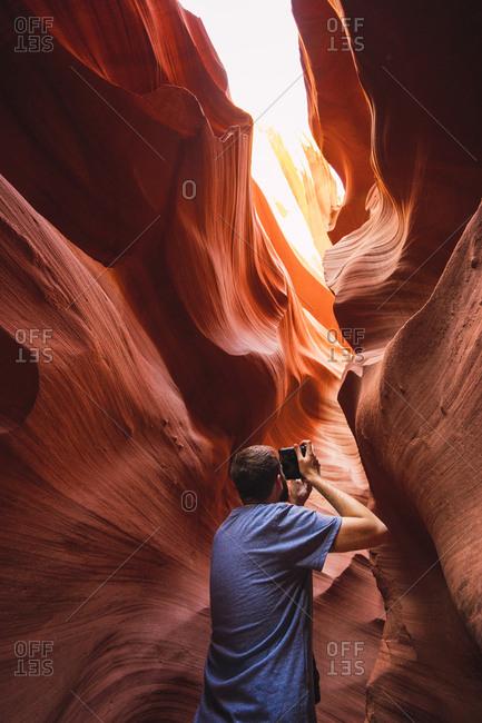 USA- Arizona- Lower Antilope Canyon- tourist photographing