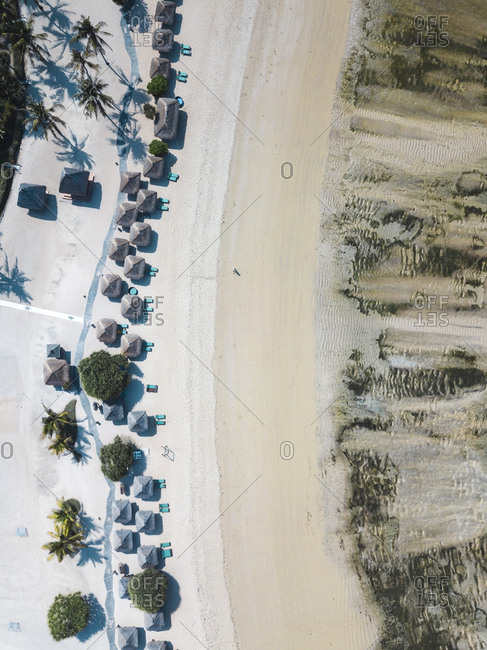 Indonesia- Lombok- Kuta- Aerial view of Seger beach- sunloungers and beach umbrellas from above