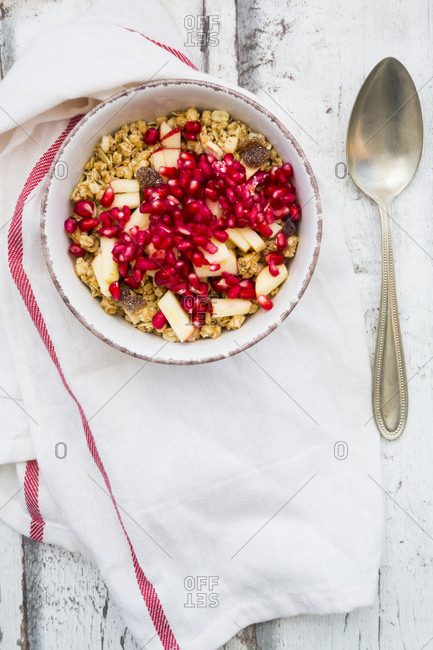 Bowl of fruit muesli with dried cranberries- apple and pomegranate seed