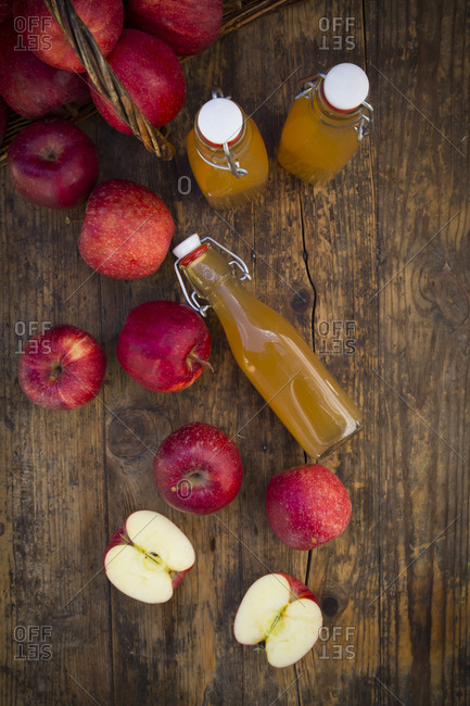 Red apples and apple juice