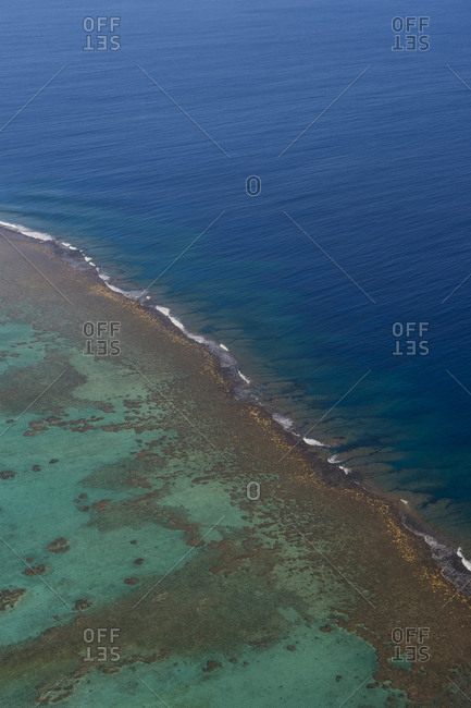Cook Islands- Aerial view of Aitutaki lagoon