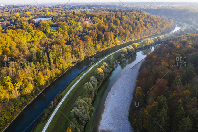 Germany- Bavaria- Upper Bavaria- Isar Canal and Isar river- Schwaneck Castle in Pullach- Isar Valley