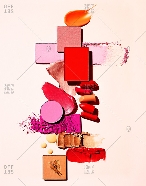 Variety of makeup on white background