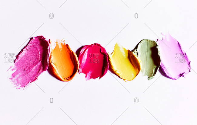 Makeup smears on white background